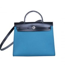 Hermès(爱马仕)herbag 31cm 黑拼伊兹密尔蓝 帆布