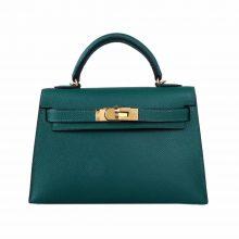 Hermès(爱马仕)mini Kelly二代 金扣 孔雀绿 Epsom
