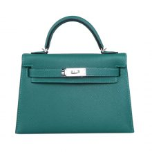 Hermès(爱马仕)miniKelly 二代 银扣 Z6孔雀绿 epsom