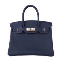 Hermès(爱马仕)Birkin 30  玫瑰金扣 午夜蓝  togo