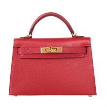 Hermès(爱马仕)miniKelly 二代 金扣 中国红 羊皮