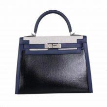 Hermès(爱马仕)Kelly 凯莉包 宝石蓝 SW 拼黑色防水布+拼米白帆布 银扣 28cm