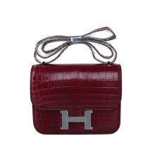 Hermès(爱马仕)Constace 空姐包 波尔多酒红 亮面鳄鱼 银扣 19cm
