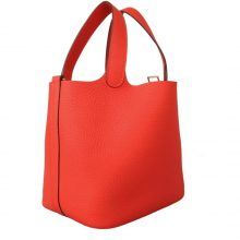 Hermès(爱马仕)Picotin 菜篮包 橙红色 togo 金扣 18cm