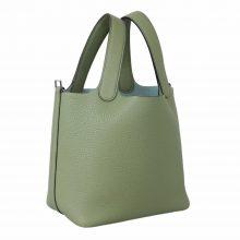 Hermès(爱马仕)Picotin 菜篮包 牛油果绿 togo 银扣 18cm
