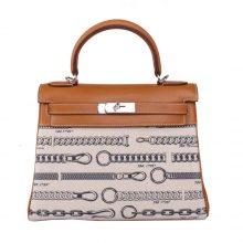 Hermès(爱马仕)Kelly 凯莉包 双链帆布盖头拼驼色 swift 银扣 28cm
