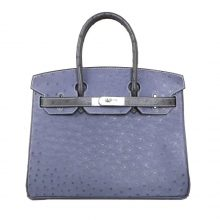 Hermès(爱马仕)birkin 铂金包 玛瑙蓝拼锡器灰 南非鸵鸟 银扣 30cm
