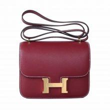 Hermès(爱马仕)Constace 空姐包 石榴红 EV 金扣 19cm
