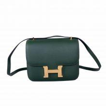 Hermès(爱马仕)Constace 空姐包 英国绿 Epsom 金扣 19cm