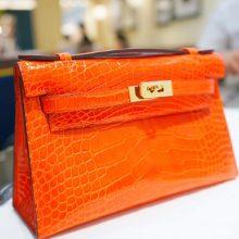 Hermès(爱马仕)miniKelly 一代 22cm 金扣 火焰橙  亮面鳄鱼