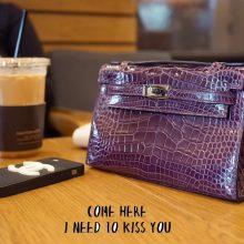 Hermès(爱马仕)miniKelly 一代 22cm 银扣 加仑紫 亮面鳄鱼