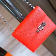 Hermès(爱马仕)Verrou 锁链包 中国红 羊皮 银扣 17cm