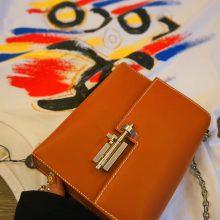 Hermès(爱马仕)Verrou 锁链包 金棕色 box皮 银扣 17cm