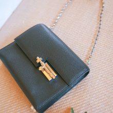 Hermès(爱马仕)Verrou 锁链包 黑色 羊皮 银扣 17cm