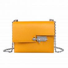 Hermès(爱马仕)Verrou 锁链包 太阳黄 羊皮 银扣 17cm