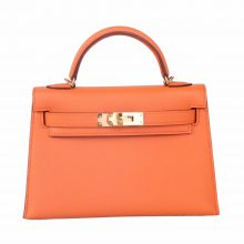 Hermès(爱马仕)miniKelly 二代 金扣  橙色  epsom皮 19cm