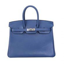 Hermès(爱马仕)Birkin 铂金包 swift 小牛皮 布莱顿蓝 银扣 25cm