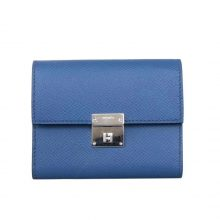 Hermès(爱马仕)Clin 三折卡包 7E明蓝色 epsom皮 21.5-10.5cm