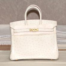 Hermès(爱马仕)BK 25金 奶昔白 鸵鸟皮 出货