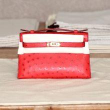 Hermès(爱马仕)miniKelly 一代 22金 5E朱砂红 南非鸵鸟 出货