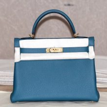 Hermès(爱马仕)Kelly 凯莉包 明蓝色 小牛皮 金扣 出货