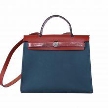 Hermès(爱马仕)Herbag 手提单肩包 鸭子蓝帆布 银扣 31cm