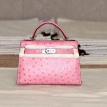 Hermès(爱马仕)mini Kelly 陶瓷粉 南非鸵鸟 银扣 出货