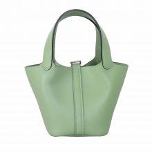 Hermès(爱马仕)mini Picotin 菜篮包 3l牛油果绿 swift皮 银扣 14cm