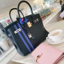 Hermès(爱马仕)Birkin 铂金包 黑色 双杠彩条 togo 银扣 30cm