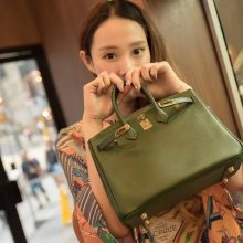 Hermès(爱马仕)Birkin 铂金包 橄榄绿 Epsom 金扣 25cm