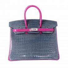 Hermès(爱马仕)birkin 铂金包 N7暴风蓝拼J5天方夜谭紫 湾鳄压倒V 25cm