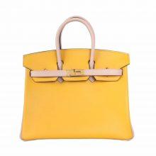 Hermès(爱马仕)birkin 铂金包 9D琥珀黄拼S2风衣灰 swift 金扣 25cm