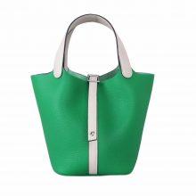 Hermès(爱马仕)Picotin 菜篮包 竹子绿拼奶昔白 Togo 银扣 22cm